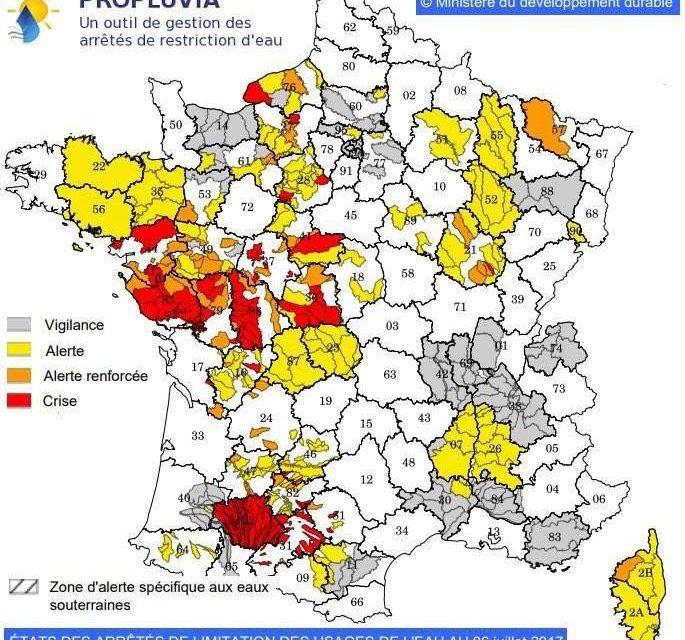 Sécheresse : Mesures de limitation des usages de l'eau
